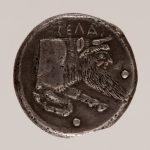 Vorderseite der Didrachme Z 406 aus Gela auf Sizilien.