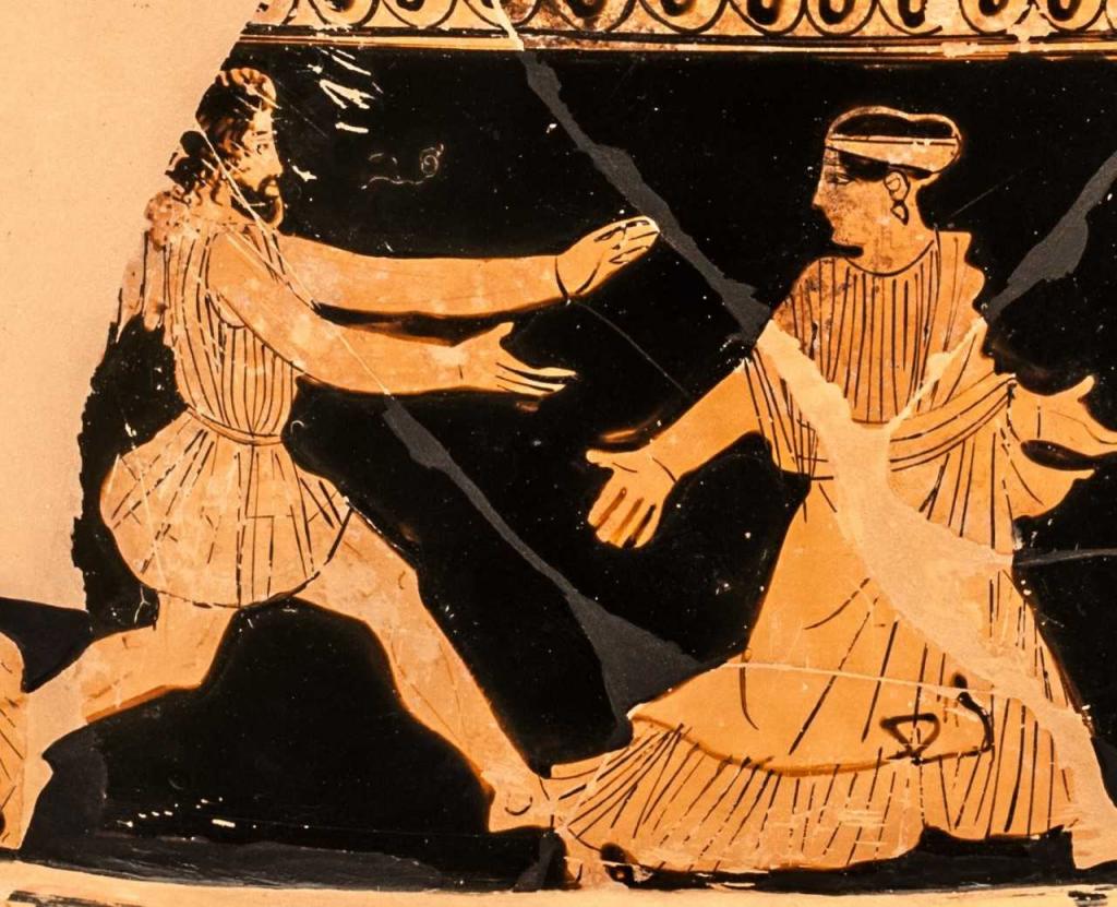 Boreas, die geflügelte Personifikation des Nordwinds, verfolgt die vor ihm fliehende Nymphe Oreithyia