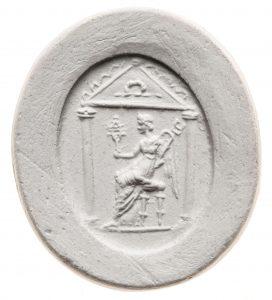 Isis Panthea. Maße: 18,2x16 mm. Original: Karneol, zum Teil verbrannt. 1. Jh. n. Chr. Berlin SMB 32.237,96. Literatur: Weiß 2007, 184 Nr. 203 Taf. 29.