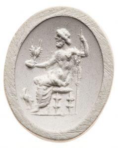 Zeus. Maße: 17x13,6 mm. Original: Chalkedon, 1. Jh. n. Chr. Berlin SMB 32.237,493. Literatur: Weiß 2007, 165 Nr. 144 Taf. 22; AGD Nürnberg Nr.78-82. 84-87.