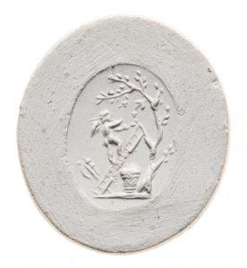 Eros bei der Ernte. Maße: 18,6x18,6 mm. Original: Jaspis, rot, 1.-2. Jh. n. Chr. Berlin SMB 32.237,79. Literatur: Weiß 2007, 143 Nr. 71, Taf. 12.
