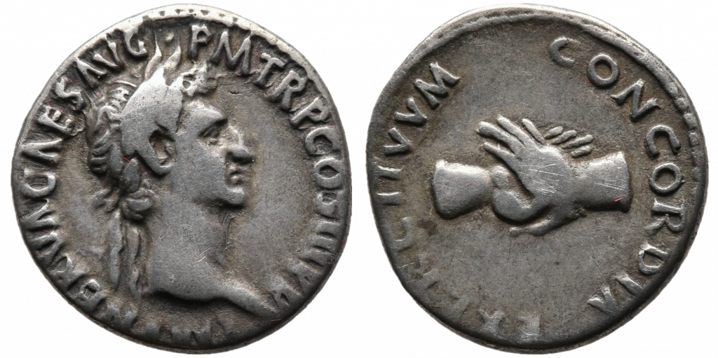 handshake as a symbol for unity, minted by emperor Nerva